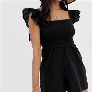 ASOS black romper with frill sleeves